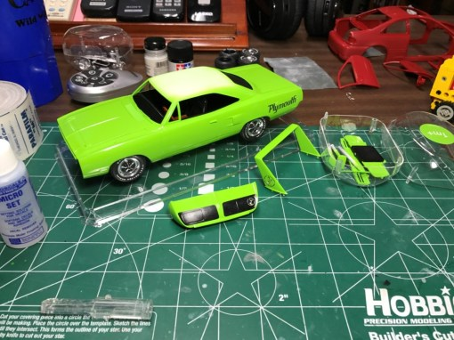Along with the Buick, I had hoped to finish the Superbird this month. I applied the Kieth Marks decals to the rear wing and nose cone. The Roadrunner logo added much needed detail to the model!