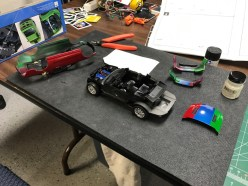 My son was able to continue work on the Mustang once the body was painted.
