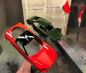 After attaching decals and detail paint, I cleared the C6 'Vette and Corolla.