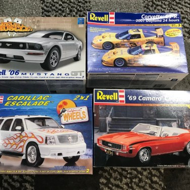 For less than $30 shipped, I bought this set of kits. The Mustang is salvagable and hte C5R is virtually untouched. The Camaro and Escalade are trash.