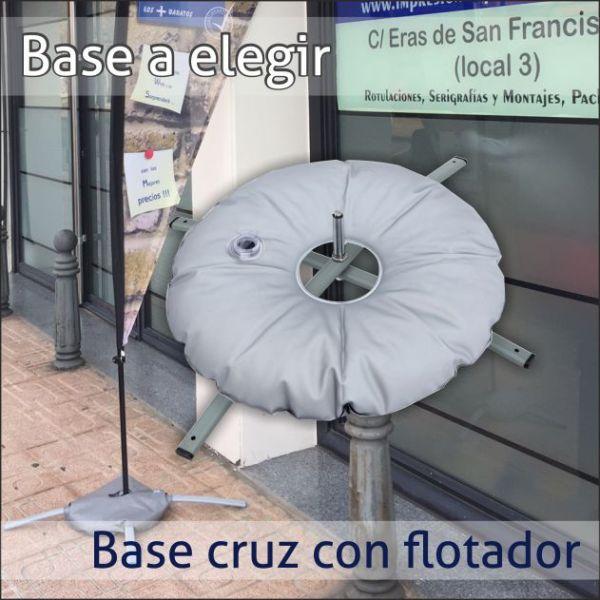 bandera barata base flotador