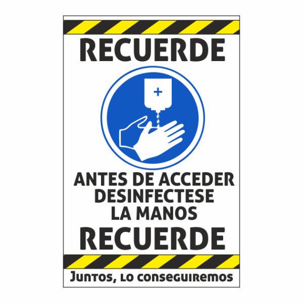 cartel desinfectar manos