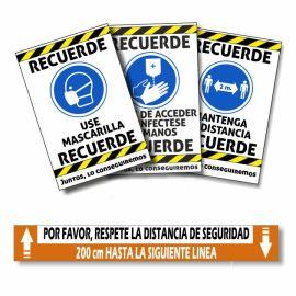 carteles y adhesivos suelo coronavirus