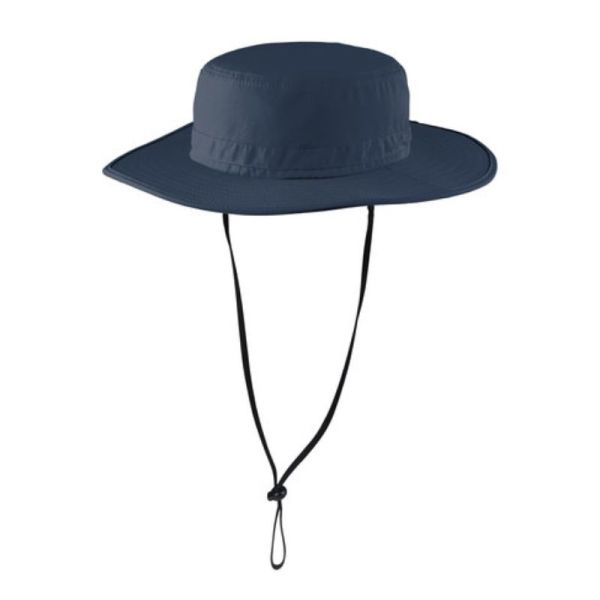 Navy blue wide brim hat with UV and insect protection