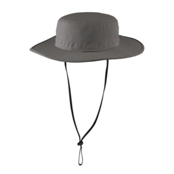 Grey wide brim hat with UV and insect protection