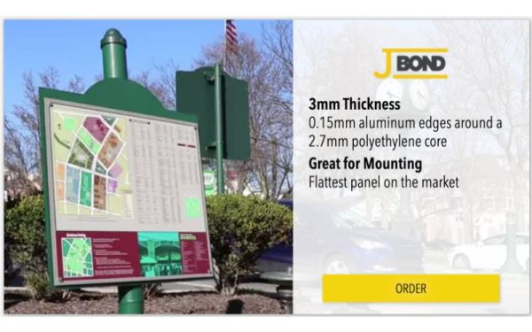 J-Bond thin aluminum signs