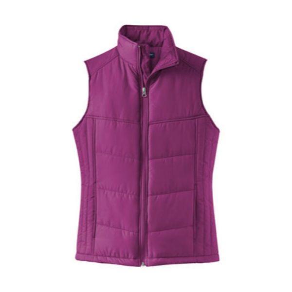 ladies vest, berry