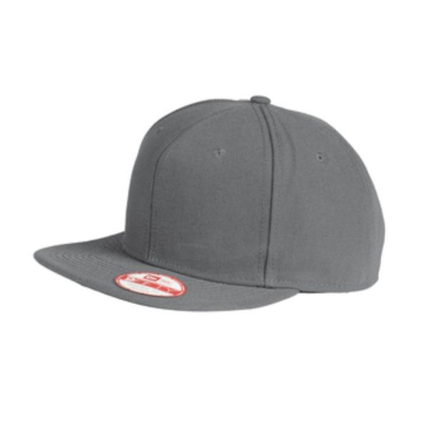 Flat bill snapback cap, graphite