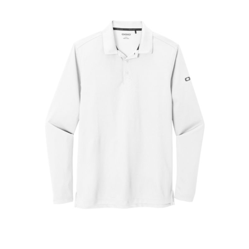 Long sleeve mens polo, white