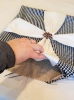 pillow- houndstooth- faux silk- fabric- christmas- holiday- diy- farmhouse- vintage- hastings- minnesota- eye candy- sewing- interior design- interior decorating- tutorial