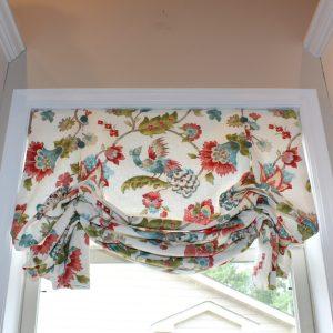 london- roman shade- floral- peacock- fabricut- cordless- kitchen- sink- interior design- white bear lake- minnesota