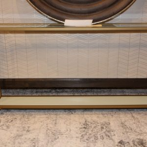 Gold metal and clear glass console table Impressive Windows & Interiors Hastings MN