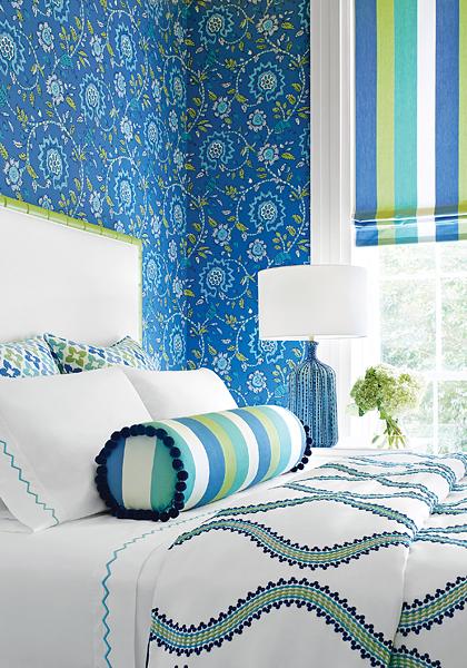 Thibaut wallpaper trim and fabric from Impressive Windows & Interiors Hastings MN