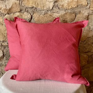 Dark coral decorative pillow with flange around perimeter in a cotton linen blend- Impressive Windows and Interiors in Hastings MN