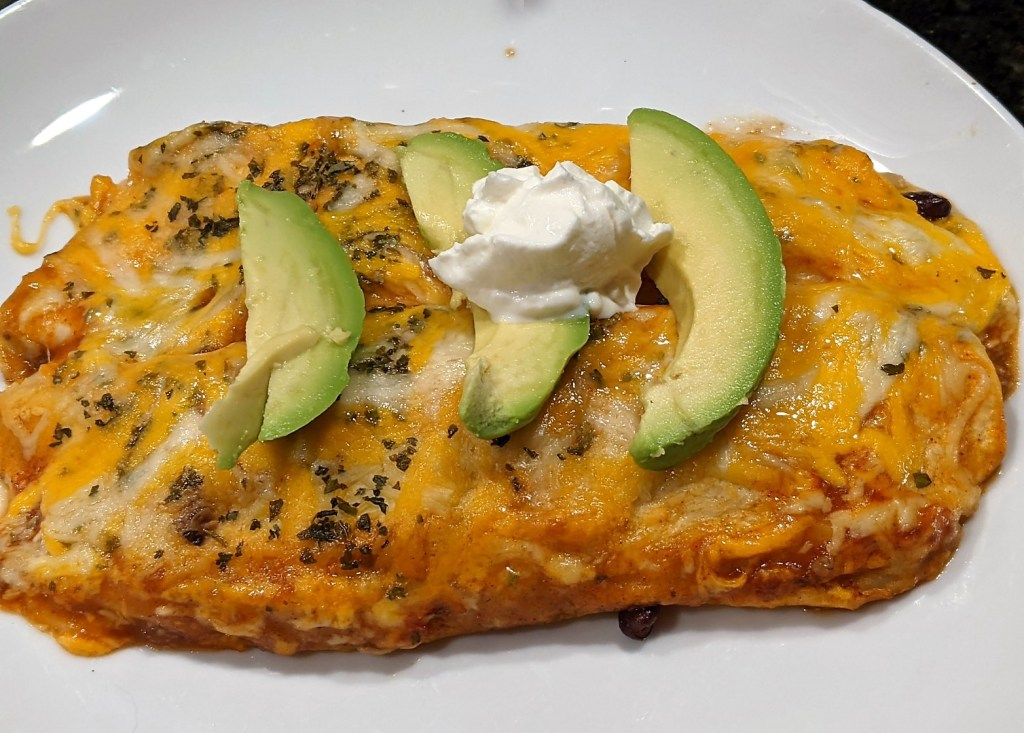 Top with garnishes of your choice. I like avocado and sour cream.