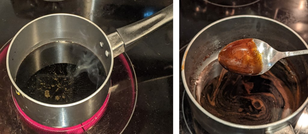 Add the honey to the balsamic vinegar bring to boil, simmer and let reduce by half, until it coats the back of a spoon