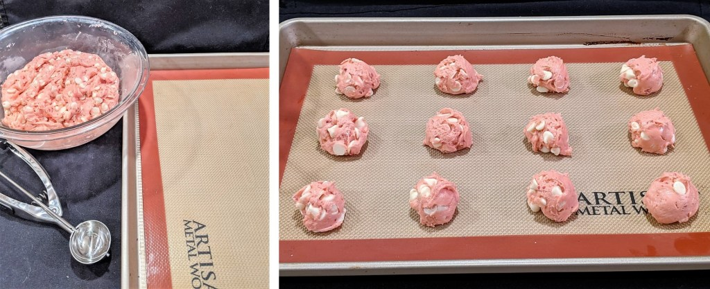 Using a medium cookie scoop drop onto a prepared baking pan