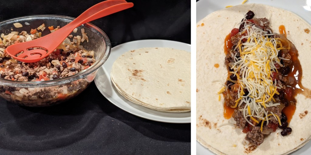 Spread 1/8 of the beef mixture down the center of each tortilla; sprinkle with 1 tablespoon cheese.