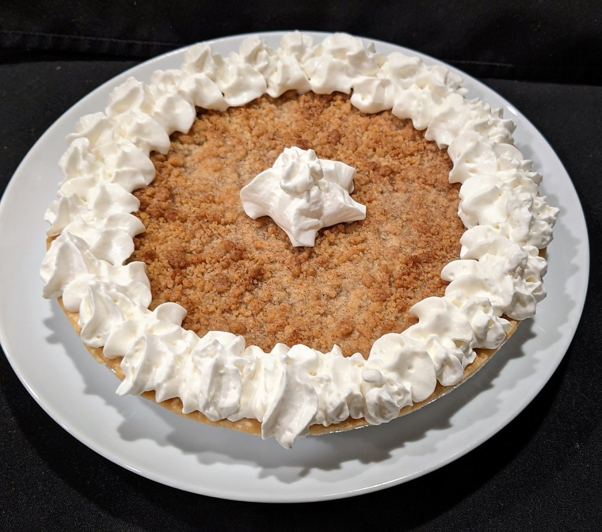 pie with whipped cream topping