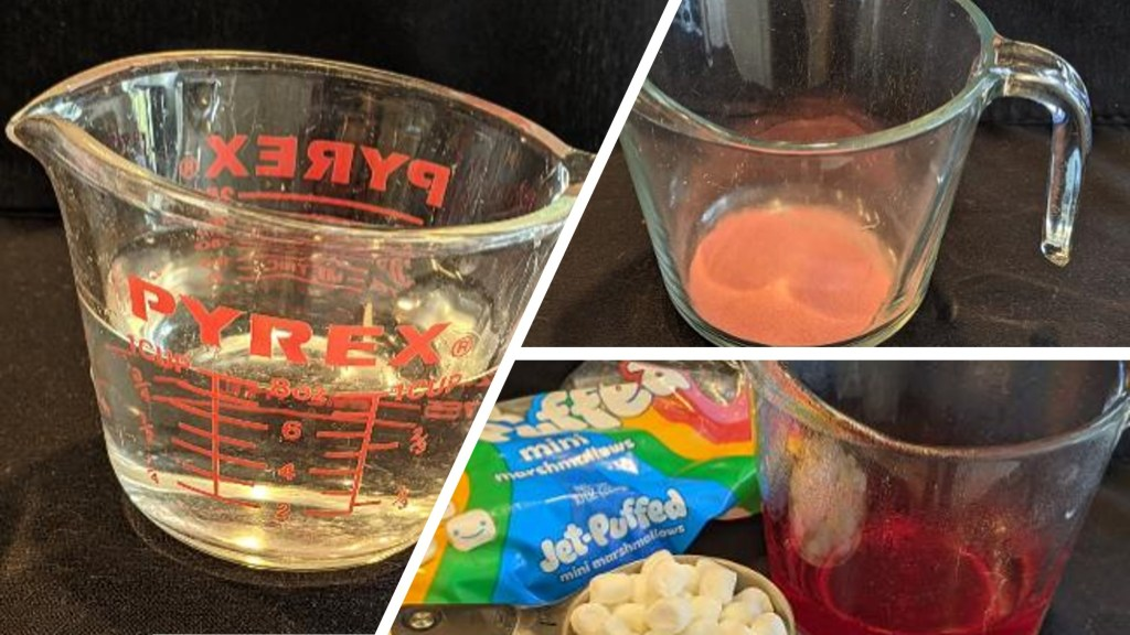 Add 1 cup boiling water to gelatin mix in 4-cup Pyrex measuring cup or medium microwaveable bowl. Stir 2 minutes until completely dissolved.  Stir in 3 cups marshmallows