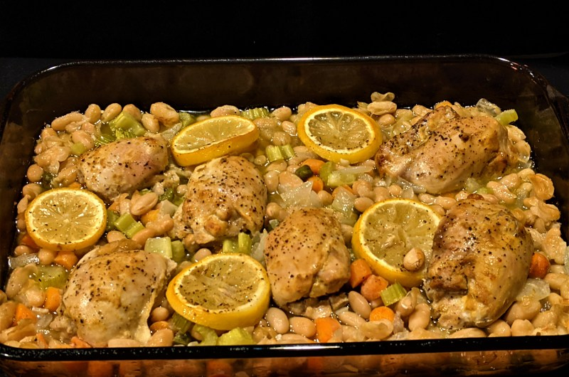 Oven Roasted Tangy Chicken Thighs with White Beans and Vegetables