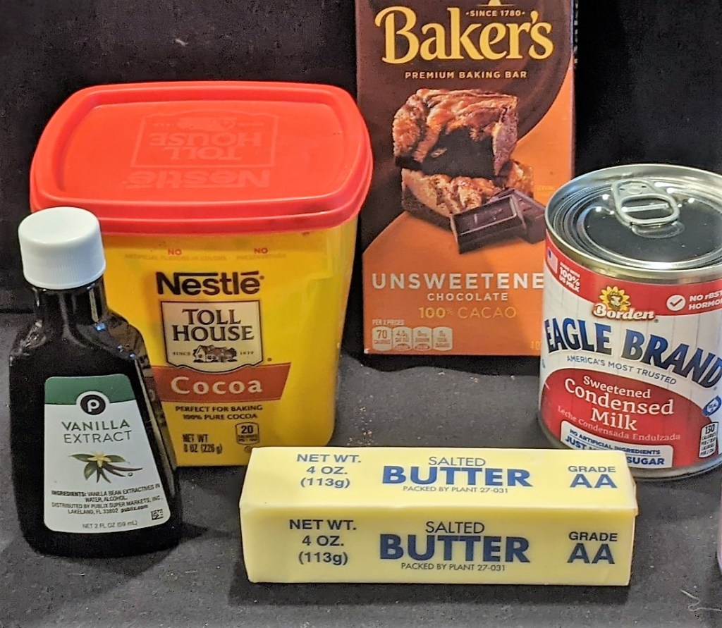 Butter, Sweetened Condensed Milk, Butter, Vanilla Extract, Cocoa, Unsweetened Chocolate