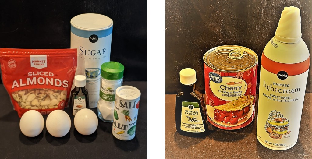 Meringue: eggs, sugar, almonds, cream of tartar, almond extract and salt. Filling: vanilla extract, cherry pie filling, whipped cream