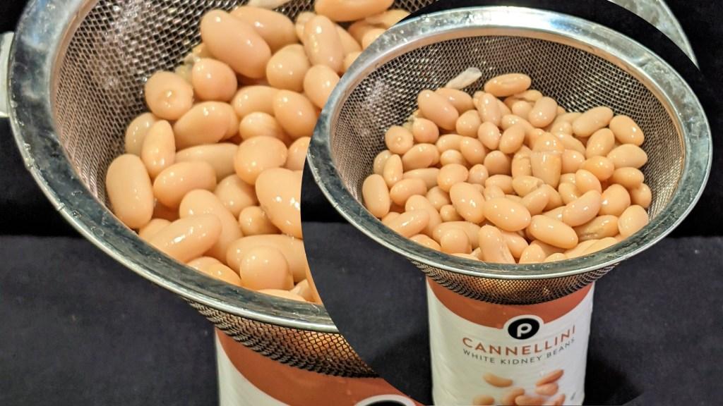 Draining white beans