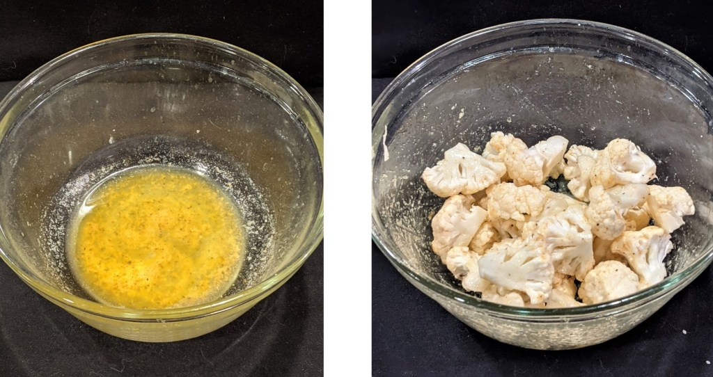 Melted butter in glass bowl;  Bowl with cauliflower florets tossed with butter mixture.