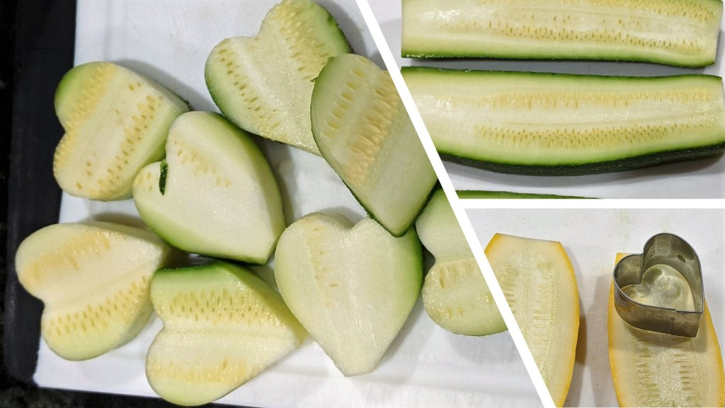 Using a heart-shaped cookie cutter make bite size slices with the zucchini and squash