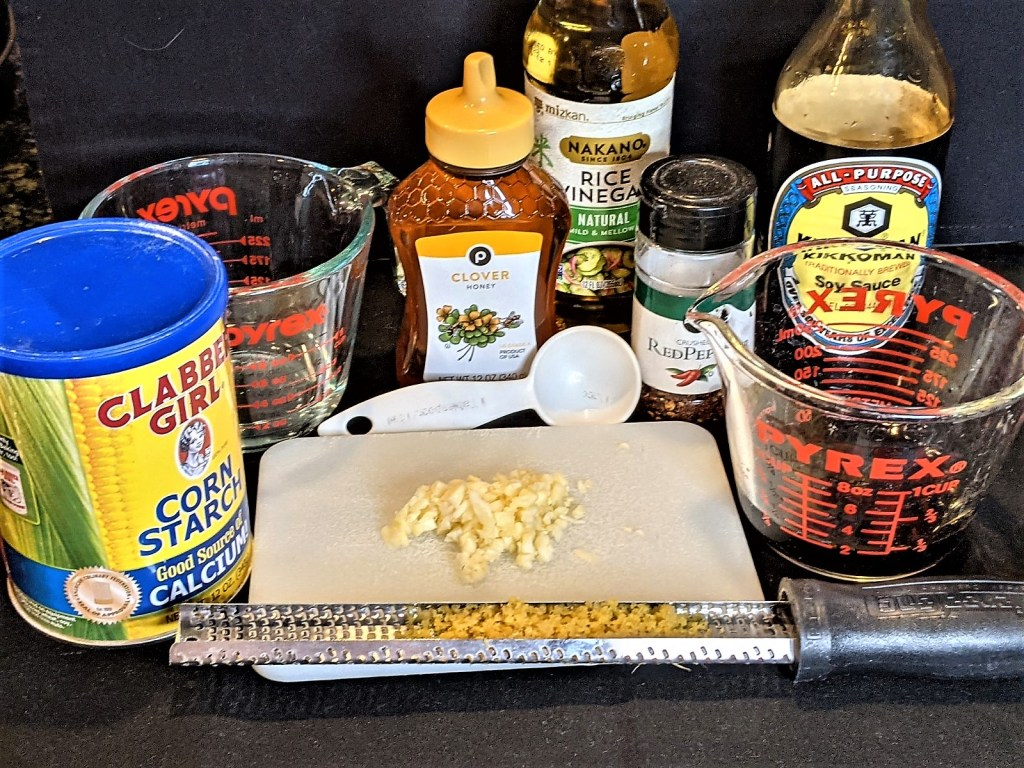 Cornstarch, water, honey, rice vinegar, soy sauce, minced garlic and grated ginger