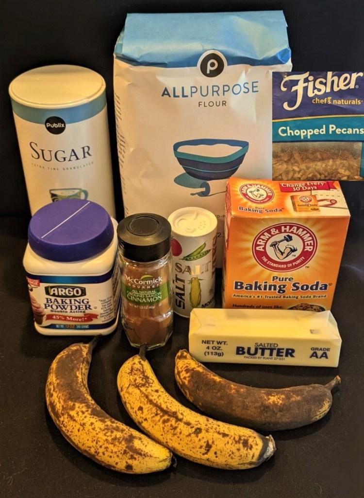 3 small ripe bananas, flour, sugar, butter, baking soda, baking powder, cinnamon, salt, pecans