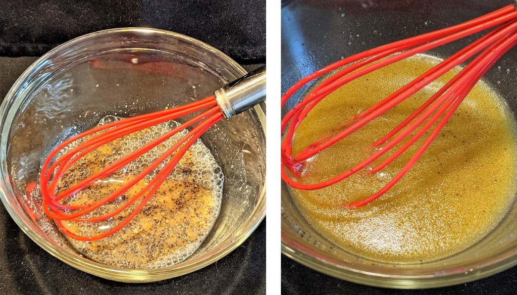 bowls of dressing with wire whisk