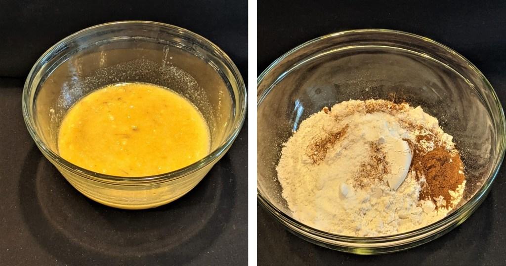 Butter, egg, mashed banana mixture in med bowl. Flour, baking soda, baking powder, salt and cinnamon in large mixing bowl.