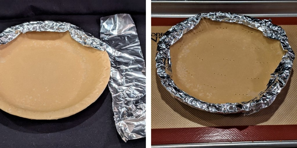 Foil wrapped around pie crust edges, sitting on baking sheet with a silicon mat