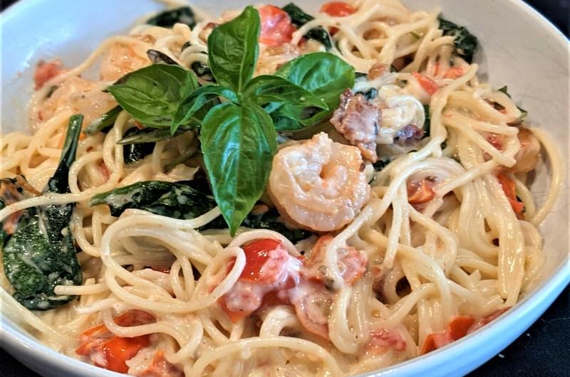Shrimp, Spinach & Bacon Pasta