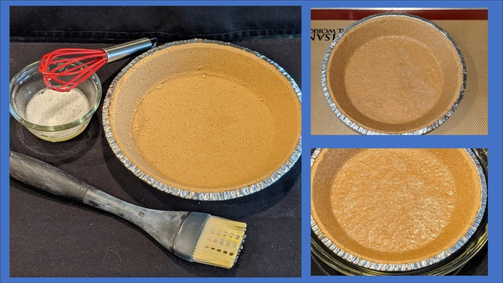 Pie crust with egg wash and tools