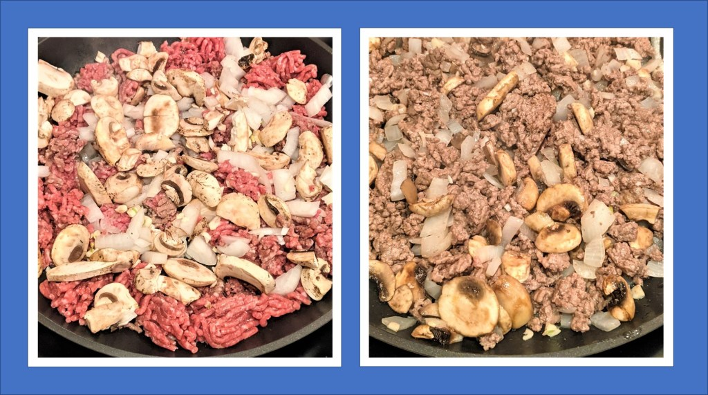 ground beef with veggies in skillet