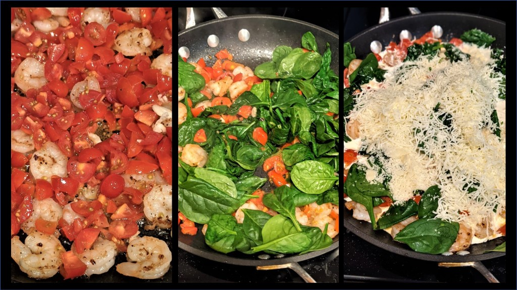 Three pictures: shrimp and tomatoes, added spinach, added cream and cheese