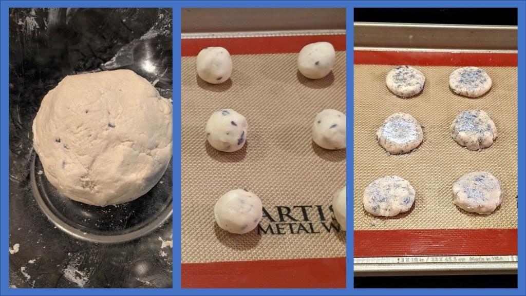 Dough, dough on baking sheet in balls and flattened