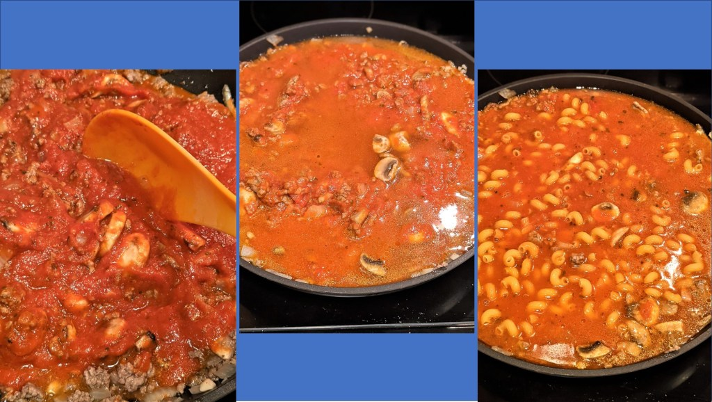 tomato sauce cooking with pasta added