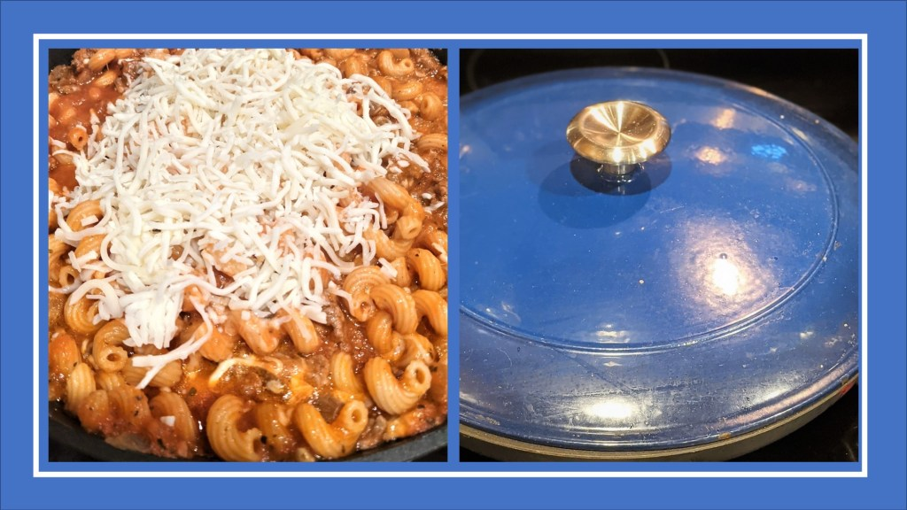 pasta with cheese and with pan cover