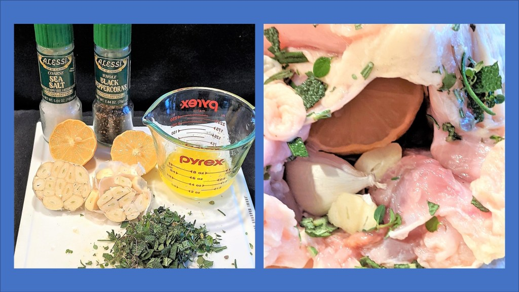 picture of lemon, garlic, herbs and seasoning, picture of ingredients in chicken cavity