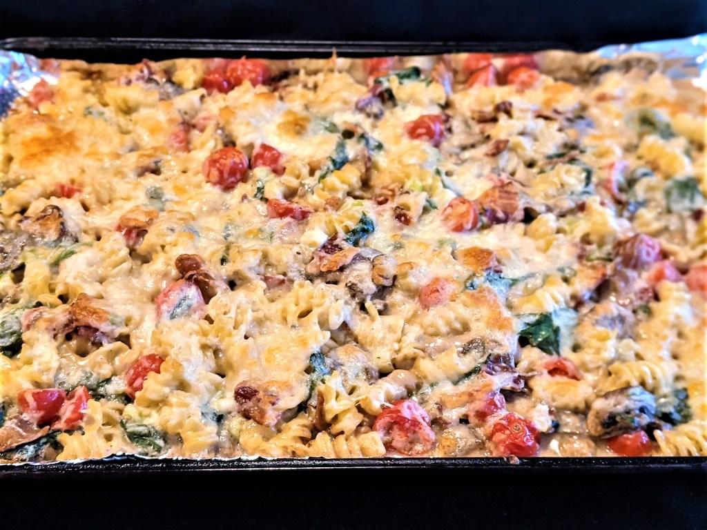 pasta mixture in sheet pan