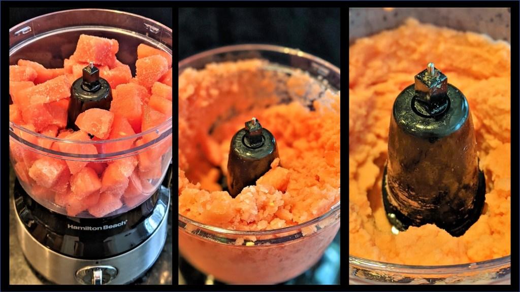 Watermelon in a food processor.
