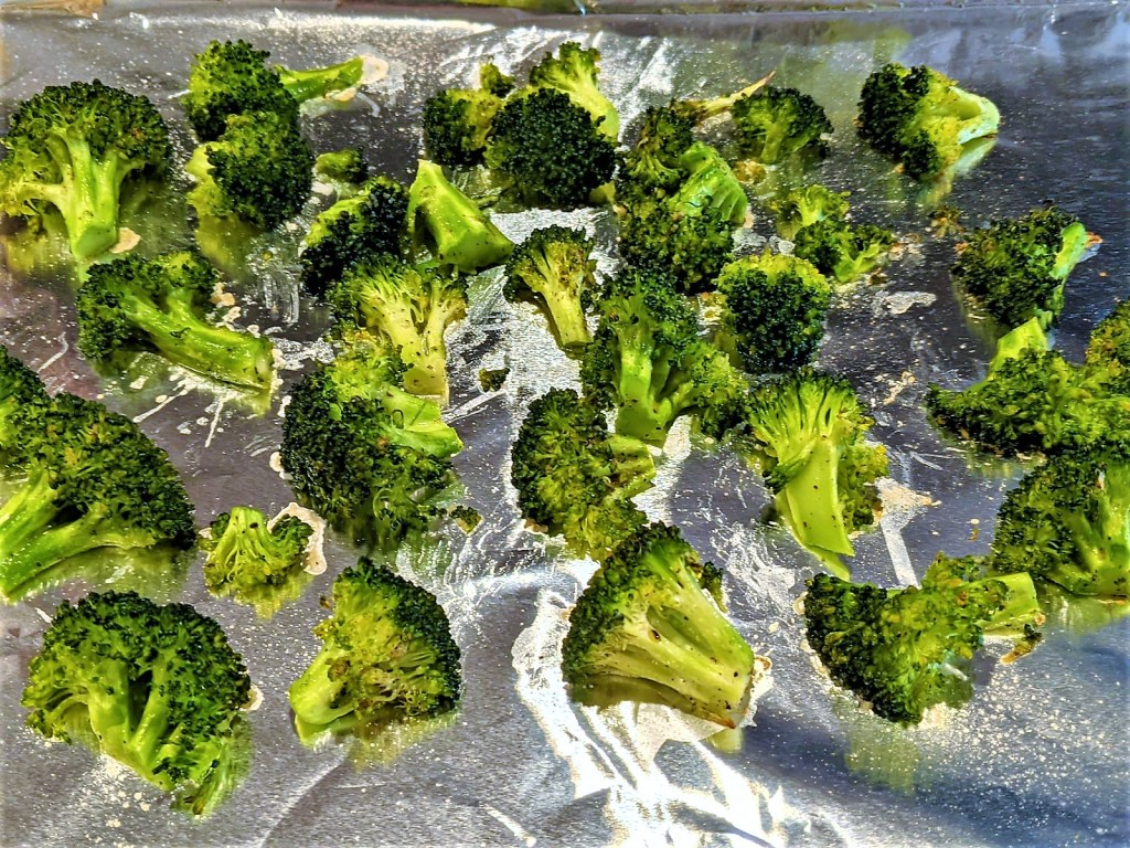 Broccoli on foil lined pan