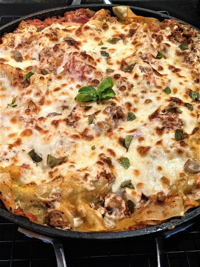 Finished lasagna garnished with basil