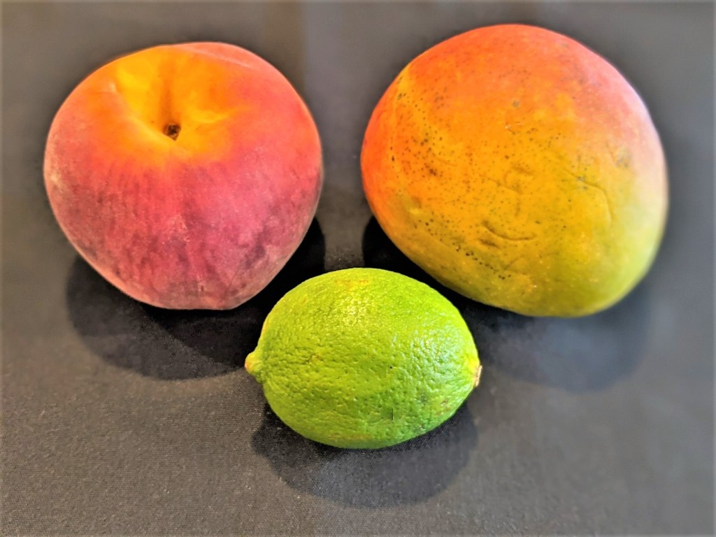 image of peach, mango and lime