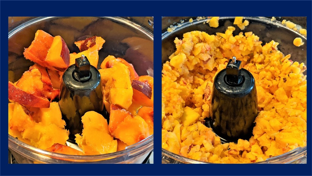 images of a Food processor with fruit chunks and fruit pebbles