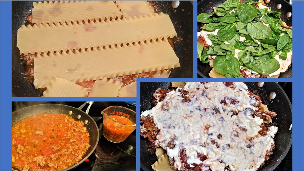 images of layers, noodles, sauce, spinach and cheese